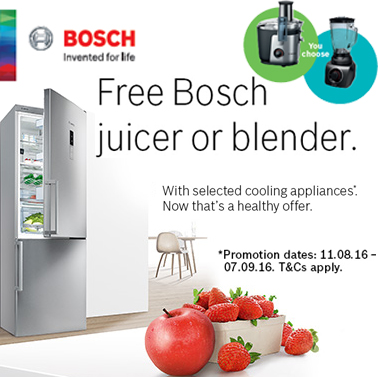 Free Bosch Juicer or Blender by Customer Redemption with Selected Cooling Appliances
